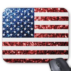 USA flag red & blue sparkles glitters Mousepads #zazzle #mousepad #glitter #sparkles #usa #flag