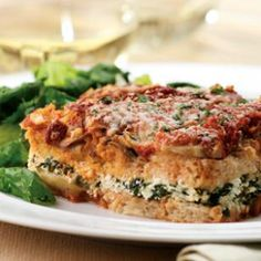 Tomato & Spinach Dinner Strata Recipe -     This yummy lasagna-inspired casserole has cheese, vegetables, eggs and marinara sauce but uses sturdy whole-grain bread instead of noodles, which makes it even easier to make. Its hearty look hides the fact that it's made with all low-fat, healthful ingredients. Of course, it makes a great brunch entree as well—don't let the name fool you.