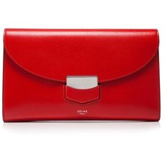 Cline Trotteur Clutch ($1,350) ❤ liked on Polyvore featuring bags, handbags, clutches, red, red clutches, celine purse, red handbags, celine handbags and red purse
