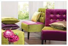 Luxurious velvet, with a blend of bold cabaret pink & lime green, for a sensual & heady decor statement -  The Nampa collection.