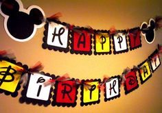 Mickey Mouse Happy Birthday Banner by PaperPiecingDreams on Etsy