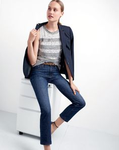 J.Crew women's Campbell blazer, lace fringe tweed top and vintage crop jean in Leopold wash.