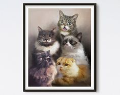All of your favorite cats from the internet have been painted in this frame-able family portrait for you to admire. Lil Bub, Grumpy Cat, Waffles, Princess Monster Truck, and Hamilton The Hipster Cat have gathered together for your enjoyment. Funny Greetings, Funny Greeting Cards, Princess Monster Truck, Monster Trucks, Memes Humor, Cat Memes, Funny Videos, Cat Throwing Up, Cat Insurance