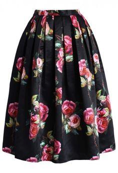 Shades of Roses Pleated Midi Skirt