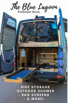 The Blue Lagoon, a converted Sprinter built for the muddy weekend adventurer, with sturdy pull-out trays for bike storage lined with vinyl coin-grip flooring. lif life diy how to build life diy ideas life diy interiors life diy projects Vw Crafter Camper, Van Life Blog, Tiny Camper, Sprinter Camper, Vanz, Camper Van Conversion Diy, Camper Hacks, Campervan Interior, Van Living
