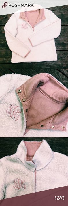 monogram faux sherpa & suede pullover faux sherpa & suede button-up pullover plush cream-colored fuzzy outer side & a buttery soft rose pink faux suede on the inside 4 gold buttons up the collar my monogram is stitched on the chest but it's hard to tell it's letters & looks more like a cute design  super preppy & cute great dupe for the true grit pullovers worn once or twice & is in perfect condition! size medium purchased online from marley lilly (an affiliate of lilly pulitzer) *price…