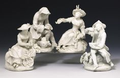A set of four Bow figures of the Seasons circa 1755-60 Well modelled in the white, Spring and Summer as ladies wearing broad-brimmed hats, Spring with flowers and Summer with corn, Autumn as a man squeezing grapes into a bowl whilst seated on an overturned pannier, Winter as a man wearing a hooded coat and warming his hands over a brazier
