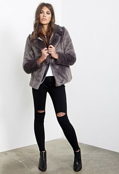 Collared Luxe Faux Fur Jacket - Shop All - 2000100181 - Forever 21 EU