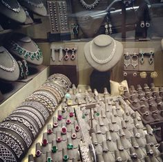 Diamond jewellery on display in the diamond district ~ Instagram