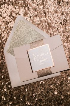 ADELE Suite Glitter Pocket Folder Package, rose gold foil, rose gold glitter, blush and rose gold wedding invitations