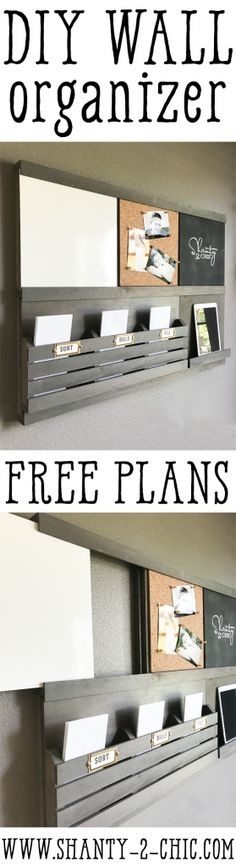 Get organized for back-to-school with this DIY Wall Organizer! Each component slides in and out, making it 100% customizable! Double up on a component or create your own! Find the free plans at www.shanty-2-chic.com