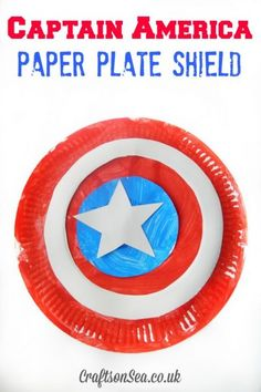 Captain America Paper Plate Shield - Crafts on Sea This Captain America shield DIY uses paper plates to make a toy that kids will love to play with. A superhero craft idea that's great for dressing up! Summer Camp Crafts, Camping Crafts, Summer Fun, Camping Games, Summer Bucket, Spring Crafts, Preschool Crafts, Kids Crafts, Arts And Crafts