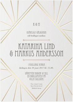 Deco Elegance Inbjudningskort bröllop. Passar lika bra till fest! Art deco / Guldfolie / Guld /