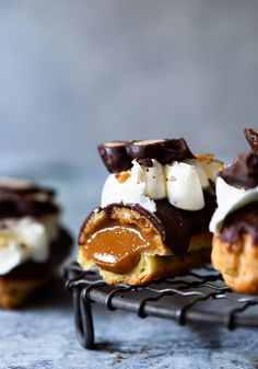 Caramel Crunch Eclairs with Burnt Caramel Pastry Creme Bakers Royale