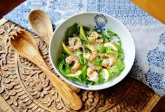 French Cuisine by Maxce Marinated Prawns Salad with lemon, rice and coriander