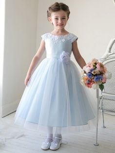Baby Blue Satin Embroidered Lace Waistline Tulle Flower Girl Dress