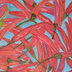 Chiles en Acuarela y lápiz  de colores.