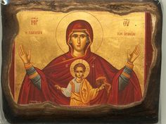 High quality hand-painted Orthodox icon of Our Lady of the Sign. BlessedMart offers Religious icons in old Byzantine, Greek, Russian and Catholic style. Religious Icons, Religious Art, Paint Icon, Byzantine Art, Orthodox Icons, Blessed Mother, Roman Catholic, Our Lady, Christianity