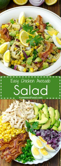 Easy Chicken Avocado Salad Recipe EASY CHICKEN AVOCADO SALAD – Quick and simple Chicken Avocado Salad is so easy to make! A perfect salad to throw together at any time of the day with No Cooking! Avocado Dessert, Avocado Salad Recipes, Avocado Chicken Salad, Easy Salad Recipes, Easy Chicken Recipes, Healthy Recipes, Chicken Treats, Healthy Nutrition, Healthy Eating