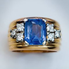 Vintage 3 Ct Blue Sapphire, Diamond and Gold Ring 1940