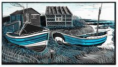 """Cobbles at Beadnell"" linocut by James Dodds (UK) ; edition of 150, 58 x 89 cm"