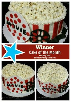 Here's the February 2016 Cake of the Month Winner made by Portia from Warrior, AL: A Dinner and Movie Popcorn Birthday cake made overnight for her niece who was turning 13. Here's how Portia made it...