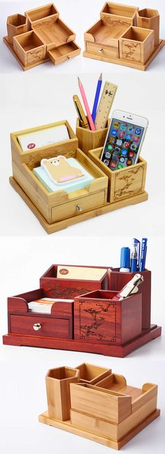 4 compartments Wooden Office Desk Organizer Collection  Pen Pencils Holder Business Card Stand Holder
