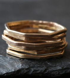 Hex Gold Ring by Alexis Russell on Scoutmob Shoppe Stackable Bands, Stacking Rings, Etsy Jewelry, Jewelry Rings, Band Rings, Rings For Men, Men Rings, Rings, Gemstone Rings