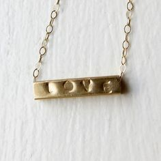 Gold Love necklace, hand stamped, 14k recycled yellow gold