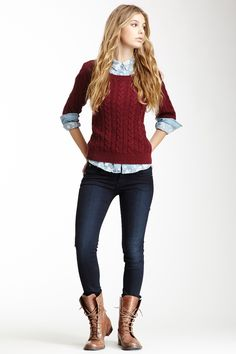 Love!  Chambray under chunky red sweater, skinnies, and boots.  Love, love the boots!