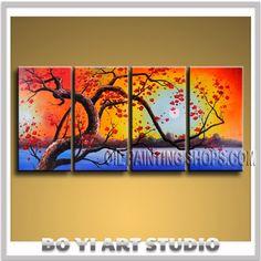 "SPLENDOR SUNSET SCENE CHERRY BLOSSOM BEACH ASIAN WALL ART ABSTRACT MODERN Signed Original By Bo Yi Art Studio 58"" x 28"""