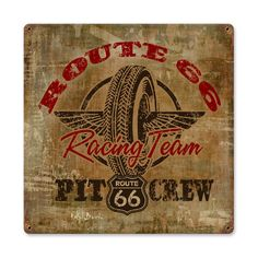 Route 66 Racing Vintage Metal Sign 12 x 12 Inches, $24.98 (http://www.jackandfriends.com/route-66-racing-vintage-metal-sign-12-x-12-inches/)