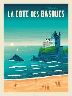 Vintage Advertising Posters, Poster Vintage, Vintage Travel Posters, Vintage Advertisements, Etiquette Vintage, Travel Ads, Art Deco Posters, Biarritz, Travel Illustration