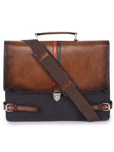5335cabd2d9 Phive Rivers Men s Leather and Canvas Charcoal and Tan Laptop Bag
