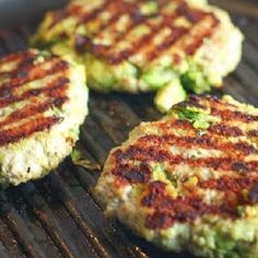 Parmesan Turkey or Chicken Avocado Burgers  •1lb ground turkey (I prefer chicken) • 1/2 of a ripe avocado • 1/2c grated parmesan ( or use panko crumbs instead or do 1/4c of each) •spices to taste: s  p, cayenne, onion powder, cumin, garlic, it's up to you Make a lettuce wrap