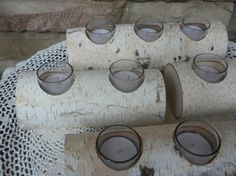 4  White Birch Logs Candle Holders Perfect for by craftsbymerle, $50.00