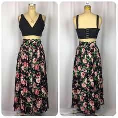 Vintage Black & Pink Cabbage Rose Print Belted Maxi skirt. Beauty & The Beast. M  | eBay