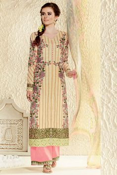 USD 52.15 Cream Cotton Silk Pakistani Style Suit 55741