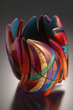 "Kathleen Dustin - Why does she make beautiful objets d'art and not sculpture? It's so we can engage with and carry her wonderful purses and jewelry. ""Plus, it shows what a marvelous person you are.""  Smithsonian Craft2Wear, Oct 1-3, 2015, Washington, DC. http://swc.si.edu/craft2wear Kathleen Dustin bracelet, polymer clay"