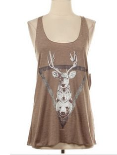 Triangle of Animals Deer Wolf and Bear Razorback Tank Top