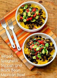 Vegan Spaghetti Squash and Black Bean Mexican Bowl features spicy black beans and tomato-avocado-cilantro salsa.
