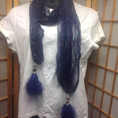 "CLEARANCE PRICE FIRM Scarf Blue Beautiful scarf. 80"" from end to end. Accessories Scarves & Wraps"