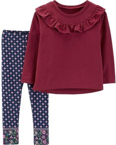 Carter's defines cute style with this girls' ruffled French terry top and leggings set. Toddler Boy Fashion, Toddler Outfits, Baby Boy Outfits, Toddler Girl, Kids Outfits, Kids Fashion, Fashion Outfits, Fashion Clothes, Fall Outfits