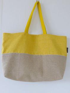 Sac de plage/Beach bag/ Cabas toile/ Sac lin jaune/ Grand sac lin et coton/ Sac à l'épaule/ Grand tote bag/ Sac fourre tout/ sac femme