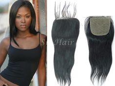 Brazilian Lace Closure Virgin Hair Silky Straight Wavy 4x4 Free Part  #laceclosure