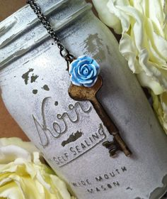 Key & Flower Necklace by RachelsOriginalGifts on Etsy, $23.00 ~ Jewelry So Adorable It's ADORNable TO ORDER: Please visit my FB and/or Etsy pages at the following links! www.facebook.com/RachelsOriginals www.rachelsoriginalgifts.etsy.com