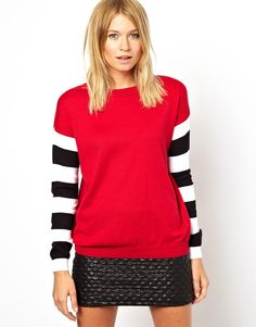 Jumper With Striped Sleeves, Asos