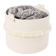 Large Woven Storage Baskets - x Cotton Rope Decorative Hamper for Nursery, Toys, Blankets, and Laundry, Cute Tassel Nursery Decor - Home Storage Container Nursery Toys, Nursery Decor, Bed Storage, Storage Baskets, Bedding Storage, Blanket Basket, Traditional Baskets, Cooling Blanket, Dekoration