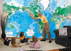 The Swiftmaps World wall map mural physical edition is available in wallpaper, laminated or peel n' stick decal with a variety of sizes from 48x70 to 96x144