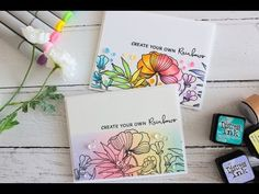 Rainbow cards, two ways Pretty Cards, Love Cards, Card Making Tutorials, Making Cards, Rainbow Card, Flower Stamp, Watercolor And Ink, Flower Crafts, Cardmaking